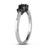 1/2 CT Black and White Diamond TW 3 Stone Ring Silver Black Rhodium Plated - 75000001889