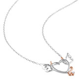 0.01 CT Diamond TW Heart Pendant With Chain Silver Pink Plated - 75000001925