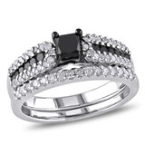 1 CT Black & White Princess & Round Diamonds TW Ring Silver Black Rhodium Plated - 75000001954