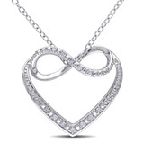 0.06 CT Diamond TW Heart Pendant With Chain Silver - 75000001957