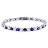 "14 1/4 CT TGW Created Blue & White Sapphire Bracelet Silver Length (inches): 7.25"" - 75000002043"