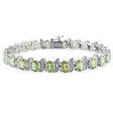 0.03 CT Diamond TW & 11 3/4 CT TGW Peridot Bracelet Silver GH I3 Length (inches): 7 - 75000002046