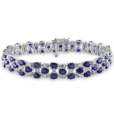 18 1/4 CT TGW Created Blue Sapphire Created White Sapphire Bracelet Silver Length (inches): 7.25 - 75000002060