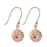 Sterling Silver Rose Gold Plated Earring with Cubic Zirconia - E750RG