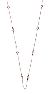 Sterling Silver Rose Gold Necklace with Round Cubic Zirconia Detail 76cm Length - N117RG