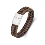 Stainless Steel Mens Black And Brown Leather Bangle - SSBG165