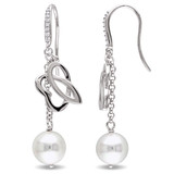 1/10 CT Diamond TW 9 - 9.5 MM White Freshwater Cultured Pearl Cuff Earrings With Chain Silver GH SI - 75000002132