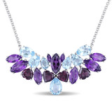 in Sky Blue Topaz, Rhodolite & Amethyst Necklace in Sterling Silver - 75000002174