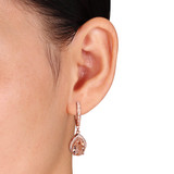 6.36 CT TGW Cubic Zirconia and Simulated Morganite Fashion Earrings Silver Rose - 75000002292