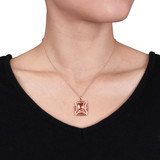 Simulated Morganite & Cubic Zirconia Square With Chain in Rose Plated Sterling Silver - 75000002395