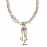 Freshwater Cultured Pearl 6-Strand Necklace With Red & White Cubic Zirconia & Pearl Feather Drop Pendant in Sterling Silver - 75000002410