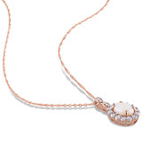 0.025 CT Diamond TW & 1 1/2 CT TGW Opal White Topaz Fashion Pendant With Chain 14k Pink Gold GH I1;I2 - 75000002850
