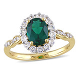 0.05 CT Diamond TW & 1 5/8 CT Created Emerald White Topaz Fashion Ring 14k Yellow Gold GH I1;I2 - 75000002876