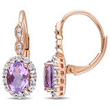 0.04 CT Diamond TW & 2 1/4 CT TGW Amethyst White Topaz LeverBack Earrings 14k Pink Gold GH I1;I2 - 75000002862