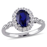 0.05 CT Diamond TW & 2 5/8 CT Created Blue Sapphire White Topaz Fashion Ring 14k White Gold GH I1;I2 - 75000002875