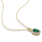 0.025 CT Diamond TW & 1 5/8 CT TGW Created Emerald White Topaz Fashion Pendant With Chain 14k Yellow Gold GH I1;I2 - 75000002842