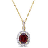 0.025 CT Diamond TW & 2 CT TGW Garnet White Topaz Fashion Pendant With Chain 14k Yellow Gold GH I1;I2 - 75000002853