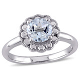 1 CT TGW Aquamarine Fashion Ring 10k White Gold - 75000002814