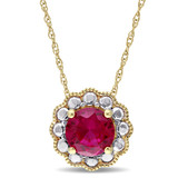 1 3/8 CT TGW Created Ruby Fashion Pendant With Chain 10k Yellow Gold - 75000002837