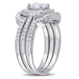 Emerald-Shape Cubic Zirconia Halo Bridal Set In Sterling Silver - 75000002512