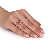 Emerald Cut Simulated Morganite & Cubic Zirconia Halo Ring In Rose Plated Sterling Silver - 75000002495