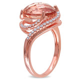 Simulated Morganite & Cubic Zirconia Oval Halo Swirl Ring In Rose Plated Sterling Silver - 75000002494