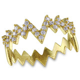 Cubic Zirconia Heartbeat Eternity Ring In Yellow Plated Sterling Silver Yellow - 75000002484