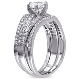 Cubic Zirconia Bridal Set In Sterling Silver - 75000002450
