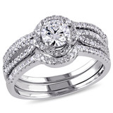 Cubic Zirconia Halo Bridal Set In Sterling Silver - 75000002452