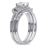 Halo Cubic Zirconia Swirl Bridal Set In Sterling Silver - 75000002453