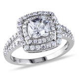 3 ct TGW Double Halo Cushion Cut Checkerboard Cubic Zirconia Engagement Ring In Sterling Silver - 75000002576