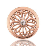 Oriental Flower Rose Gold Plated 23mm Coin - C1073RGS