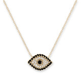 Gold Cubic Zirconia Evil Eye Necklace - 30100159