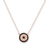 Rose Gold Cubic Zirconia Round Evil Eye Necklace - 30100139
