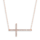 Cubic Zirconia Side Cross Rose Gold Necklace - 30100111
