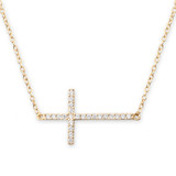 Cubic Zirconia Side Cross Gold Necklace - 30100084