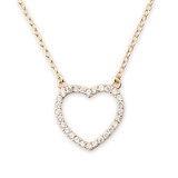 Cubic Zirconia Side Heart Necklace - 30100081