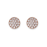 Rose Gold Pave Cubic Zirconia Disc Earrings - 10100191
