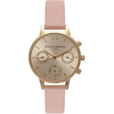 Midi Dial Chrono Detail Dusty Pink and Gold Watch - OB15CGM55
