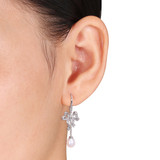 1/10 CT Diamond TW 6 - 6.5 MM White Freshwater Cultured Pearl LeverBack Earrings With Chain Silver GH I1;I2 - 75000003397
