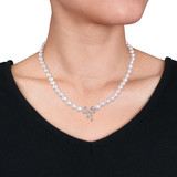 1/10 CT Diamond TW 6 - 6.5 MM White Freshwater Cultured Pearl Necklace Silver GH I1;I2 Length (inches): 17 - 75000003407