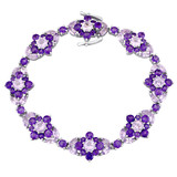 16 1/6 CT TGW Rose de France Amethyst-Africa Bracelet Silver Length (inches): 7.25 - 75000003396