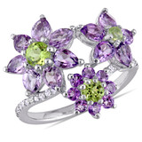 2 3/4 CT TGW Peridot Rose de France Amethyst White Sapphire Fashion Ring Silver - 75000003530