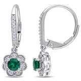 1/4 CT Diamond TW & 1/2 CT TGW Created Emerald LeverBack Earrings 10k White Gold GH I2;I3 - 75000003628