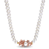 0.02 CT TGW White Sapphire & White Freshwater Cultured Pearl Necklace Pink Silver Length (inches): 17 - 75000003513