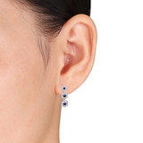 0.22 CT Diamond TW & 1/3 CT TGW Created Blue Sapphire Ear Pin Earrings 10k White Gold GH I2;I3 - 75000003505