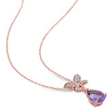 2 1/8 CT TGW Amethyst White Sapphire Fashion Pendant With Chain Pink Silver - 75000003619