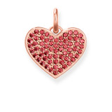 Engravable Pave Ruby Cubic Zirconia Heart Rose Gold Plated - LBPE0022-540-10