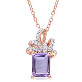 1/10 CT Diamond TW & 1 5/8 CT TGW Rose de France Fashion Pendant With Chain Pink Silver GH I2;I3 - 75000003527