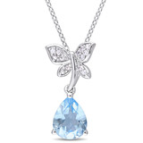 2 3/5 CT TGW Blue Topaz - Sky White Sapphire Fashion Pendant With Chain Silver - 75000003590